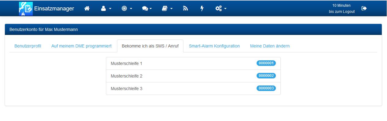 Benutzerkonto SMS